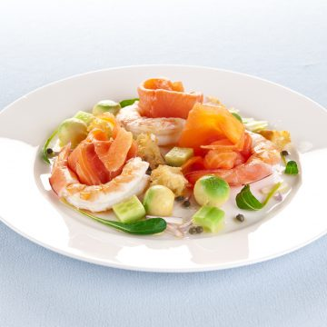 Huon Premium Cold Smoked Salmon with avocado and prawns
