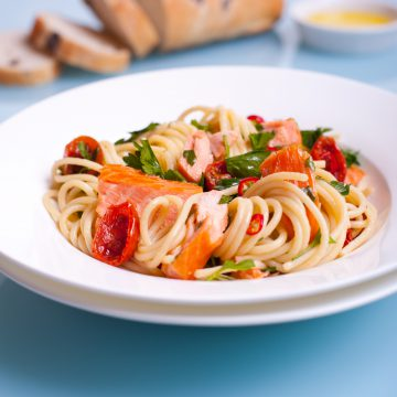 Calabrian spaghetti with Huon Premium Hot Smoked Salmon
