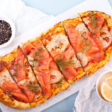 Foot-long Huon Premium Cold Smoked Salmon pizza