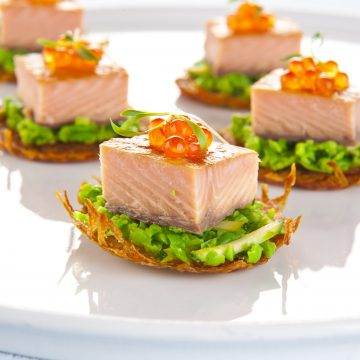 Huon Premium Hot Smoked Salmon rosti with crushed peas, zucchini and Reserve Selection Hand Milked Caviar