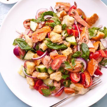 Italian bread salad with Huon Premium Hot Smoked Salmon