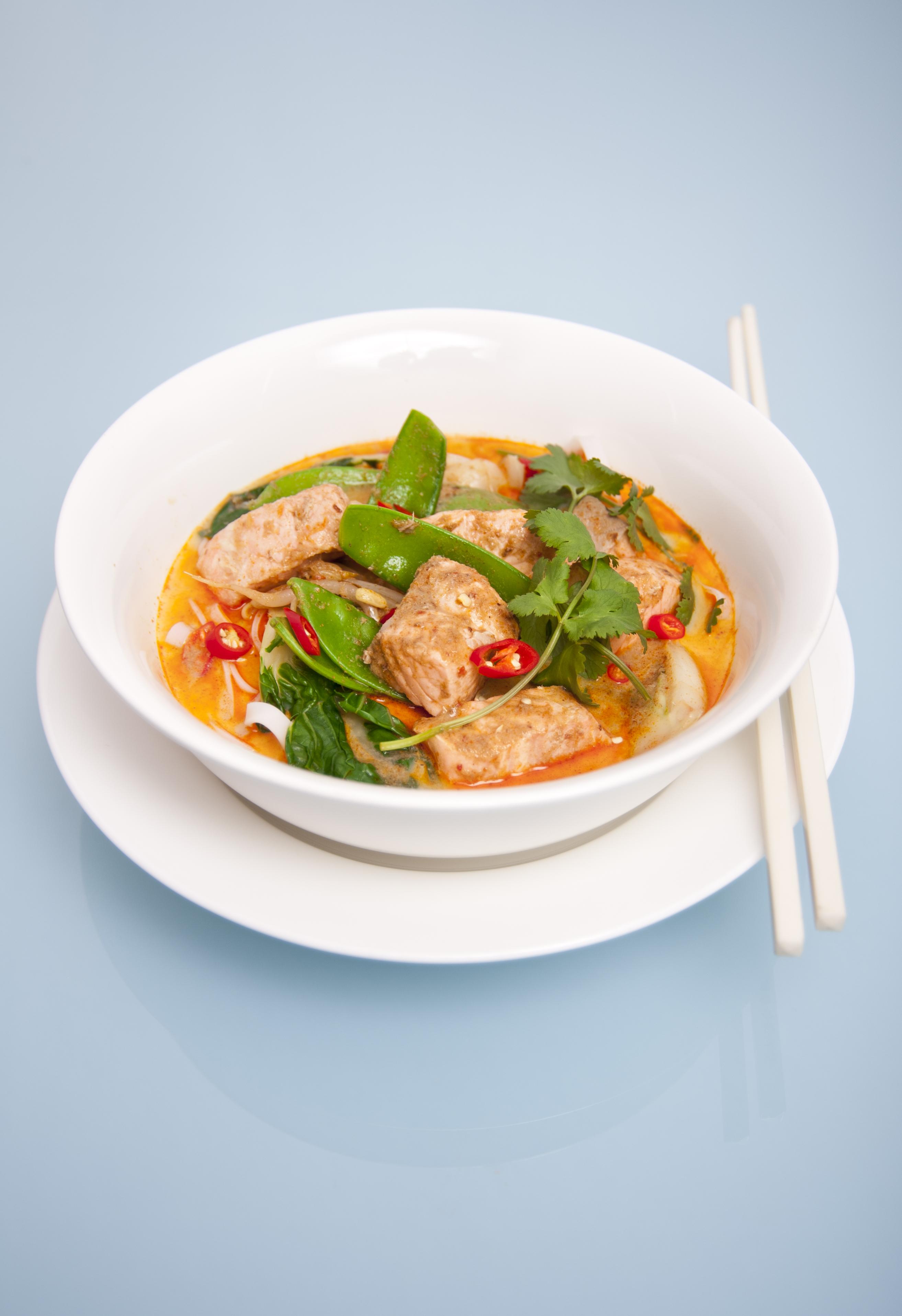Curry laksa with Huon Salmon