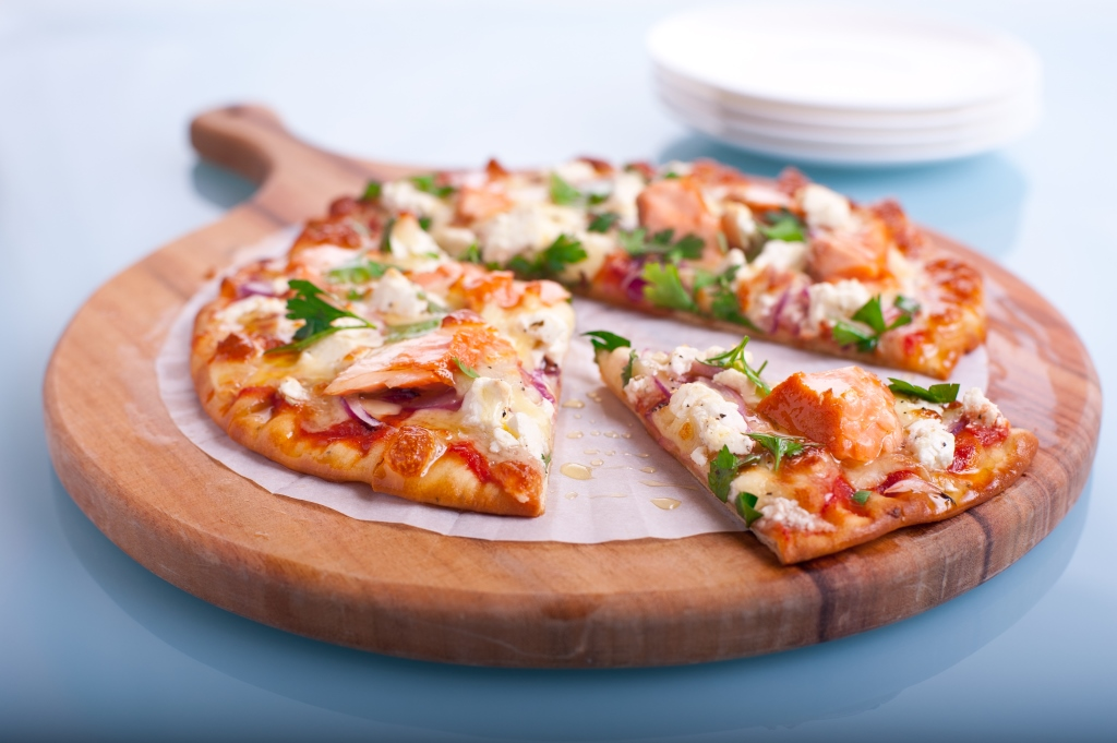 hot smoked salmon pizza with fetta red onion recipe