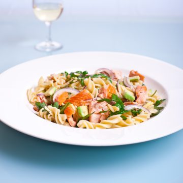 Huon Premium Hot Smoked Salmon pasta with avocado and rocket