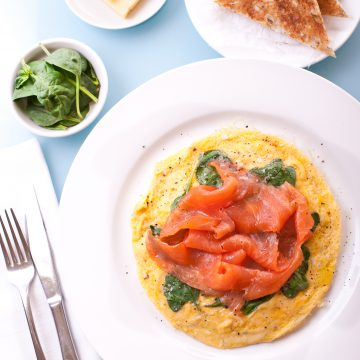 Huon Premium Cold Smoked Salmon and spinach open-omelette