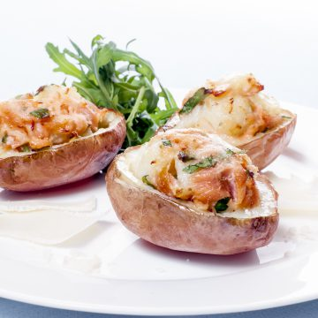 Twice baked potatoes with parmesan and Huon Premium Hot Smoked Salmon