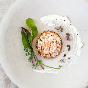 Huon Premium Hot Smoked Salmon rillettes with herbed crème fraiche and capers