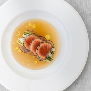 Tataki salmon with sesame crust and ginger glaze