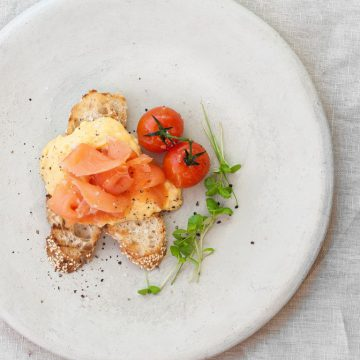 Huon Premium Cold Smoked Salmon with creamy scrambled eggs and chives