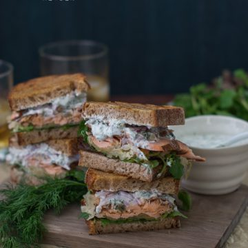 Reserve Selection Blackened Spice Salmon reuben with yoghurt dill sauce