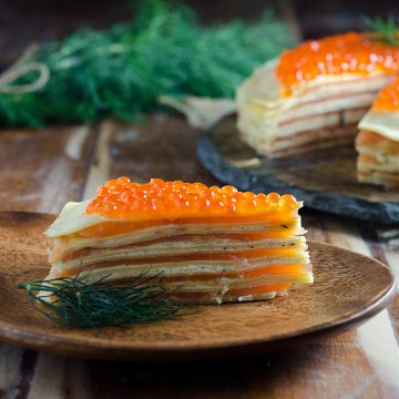 Reserve Selection Cold Smoked Salmon crêpe cake
