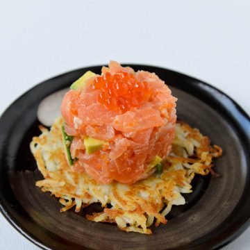 Reserve Selection Cold Smoked Salmon tartare on a potato rosti