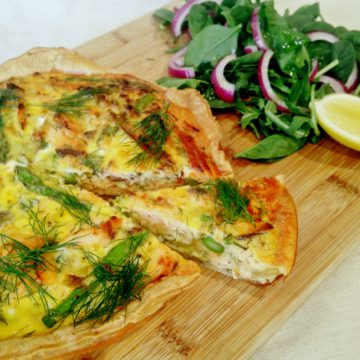 Reserve Selection Honey Cured Hot Smoked Salmon, leek and asparagus quiche