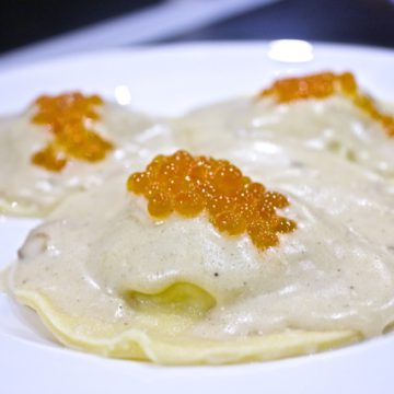 Huon Honey Cured Hot Smoked Salmon ravioli with a champagne cream sauce and Huon Salmon Caviar