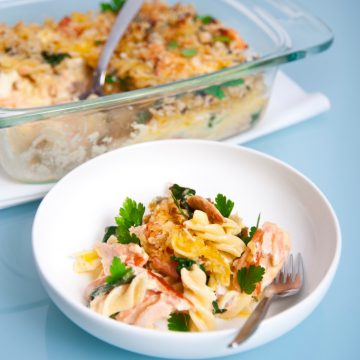 Huon Premium Hot Smoked Salmon and Spinach Pasta Bake