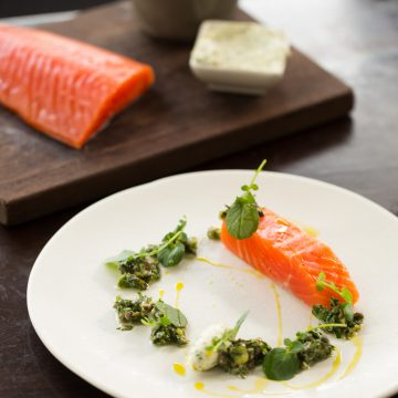 Home Cured Huon Ocean Trout with Salsa Verde & Citrus Crème Fraiche