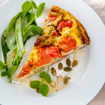 Cold Smoked Ocean Trout frittata with fennel, basil and green onion salad