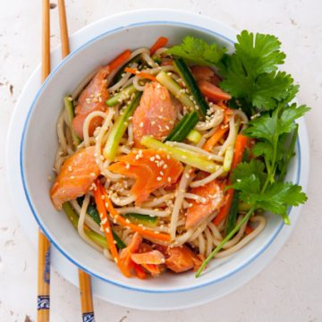 Hot Smoked Ocean Trout and ramen noodle salad with carrot, daikon and soy dressing