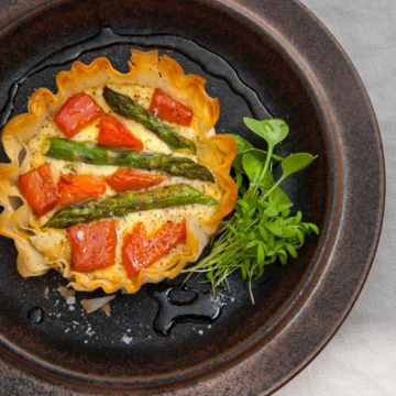 Hot Smoked Ocean Trout, asparagus and ricotta tart