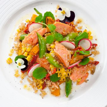 Hot Smoked Ocean Trout with quinoa, grilled corn, sugar snaps, mint and roasted pumpkin.