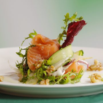 Huon Premium Cold Smoked Salmon, pear, fennel and walnut salad