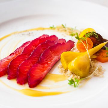 Beetroot Cured Ocean Trout with Roasted Golden Beets, Tomato and Mustard Dressing