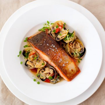Crispy-skin Ocean Trout with Vongole, Fennel and Tomatoes