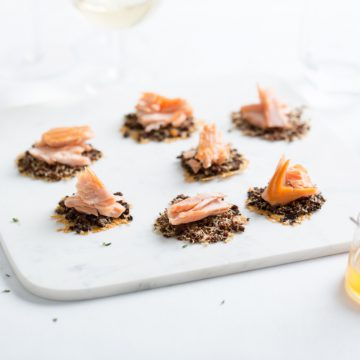 Reserve Selection Honey Cured Hot Smoked Salmon with Pumpernickel and Pyengana crisp