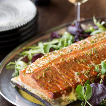 Cedar Planked Huon Salmon with Lemon Beurre Blanc Sauce
