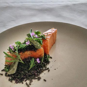 Lightly baked Huon Ocean Trout with wild rice