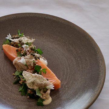 Slow Cooked Huon Salmon, Farro, Sea Herbs, Leek Aioli