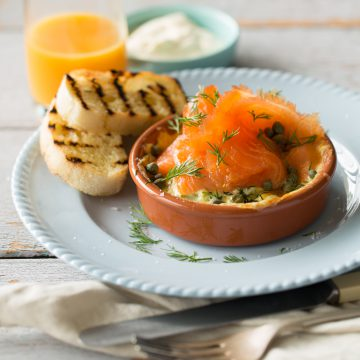Premium Cold Smoked Salmon and Baked Eggs