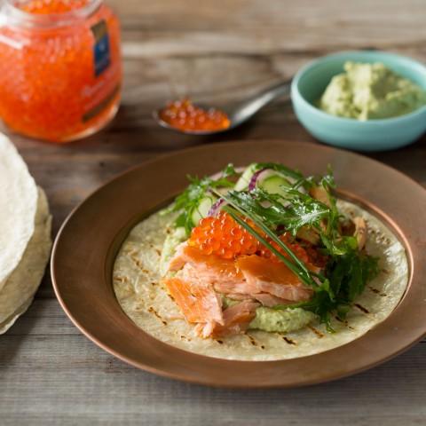 Premium Hot Smoked Salmon Breakfast tortilla