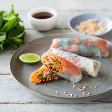 Fresh Vietnamese Cold smoked Huon Salmon Rolls