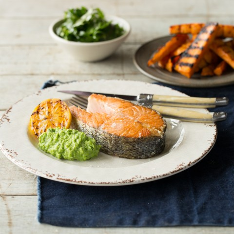 The ultimate crispy skin Huon Salmon and chips
