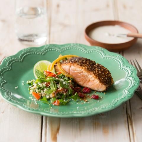 Dukkah crusted Huon Salmon