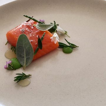 Confit Huon Salmon, Wild Garlic, Yuzu, Coastal Herbs