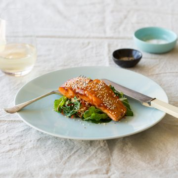 Honey & Soy Huon Salmon with Ginger, Sesame & Asian Greens