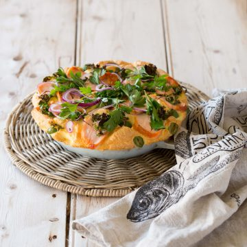 Huon Hot Smoked Salmon souffle omelette