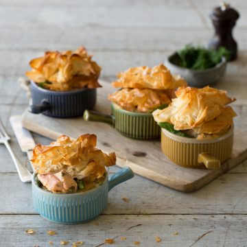 Huon Salmon Pot Pie with Asparagus, Sweet Potato & Fennel