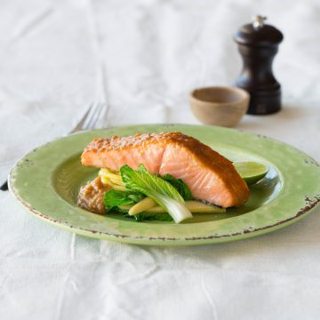 Huon Salmon with Red Miso, Lime, Egg Noodles & Asian Greens