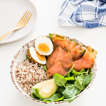 Huon Gin and Kaffir Lime Cured Salmon Breakfast Bowl by Lyndi Cohen