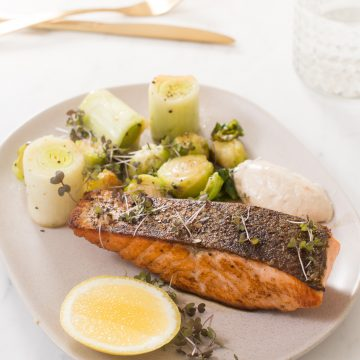 Huon Crispy Skin Salmon with Buttery Greens by Scott Gooding
