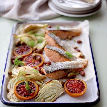 Tray-baked Huon salmon with fennel and blood orange