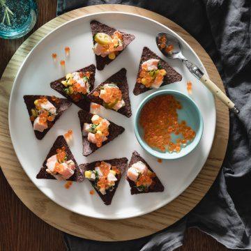 Huon Salmon Ceviche Tostadas, Sweet Corn, Coconut and Jalapenos