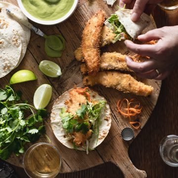 Fried Huon Salmon Tacos, Avocado and Tomatillo Dressing