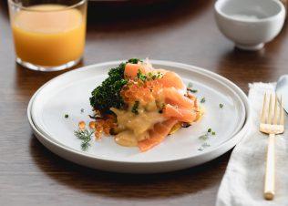 Potato waffles with Huon Smoked Salmon, Silky Eggs and Salmon Caviar