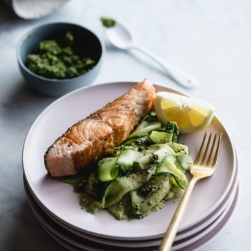 Crispy Huon Salmon with Zucchini Ribbons and Pesto