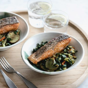 Poached Huon Salmon with Sauteed Greens