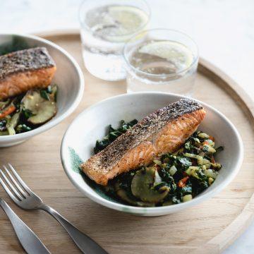 Poached Huon Salmon with Sauteed Greens